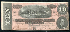 (2) Consecutive 1864 $10 Csa Confederate States Of America About Unc