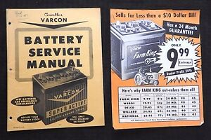1957 62 VARCON BATTERY SERVICE MANUALS GAMBLES DEPARTMENT STORES VERY GOOD SHAPE