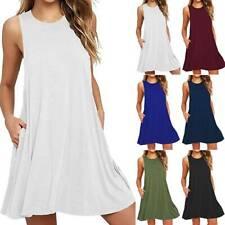 Womens Plain Sleeveless Tank Swing Mini Dress Summer Casual Tunic Short Sundress
