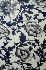 100 % Seide Blütenornament chinablau, Top Qualität Meterware ca. 110 cm breit