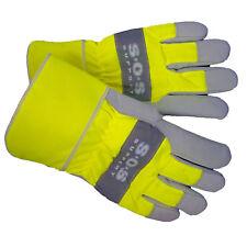 Trucker Handschuhe SOS LKW Leder Reflektierend Arbeitshandschuhe gefüttert M/L
