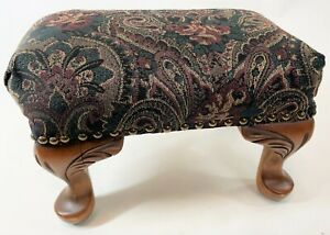 """Vintage 14"""" Wood Cabriole Paisley Upholstery Victorian Style Ottoman Footstool"""