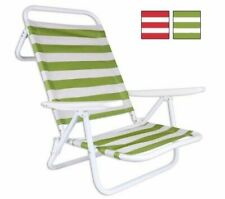 Set of 2- Foldable Metal Stripes garden camping beach chair 2 positions