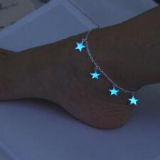 Luminous Star Anklet Glow In The Dark Women Foot Chain Blue Pendant Jewelry