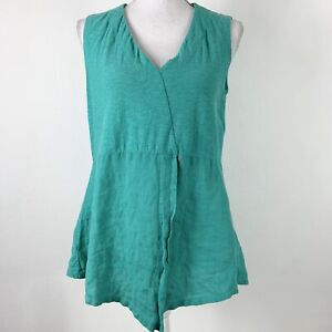 Cut Loose Small Tank Top Linen Blend Teal Loose Relaxed Fit Sleeveless Shirt