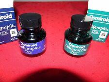 OSMIROID CALLIGRAPHY INK 2 BOTTLES, 1 BLUE & 1 GREEN 28 ML / 0.95 US FL. OZ