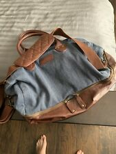 Tommy Bahama Jean / Leather Duffel Bag Carry On With Shoulder Strap - Weekender