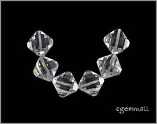 6 Cubic Zirconia Rhombus Beads 11mm White Clear #64036