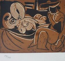PABLO PICASSO  Woman + guitar playing Picador HAND NUMBERED 216/333 signed LITHO