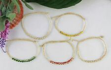 15PCS Mixed colours Glass braided raffia wish bracelets #21633