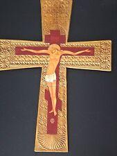 Croix bois sculptée orthodoxe Jesus peinture religious painted carved christ