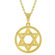 18k Oro Chapado Pequeño Estrella de David Judío Religioso Colgante Para Chicas