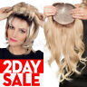 100% Human Remy Hair Replacement Topper Hairpiece Cover Gray Hair Straight P134