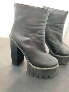 Unbranded,Black platform boots, Ladies Shoes Size UK 5 #KW