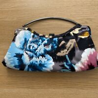 Ted Baker Satin Evening Bag Black Floral Pink Blue Metal Handle Occasion