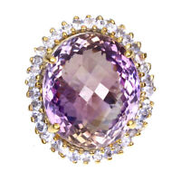 Handmade Oval Ametrine 24.31ct 19x16mm Tanzanite 925 Sterling Silver Ring Size 7