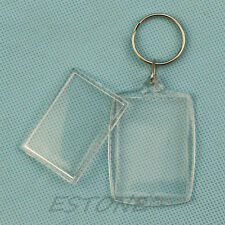 Blank Transparent Insert Photo Picture Frame Keyfob Key Ring Chain KeyChain Gift