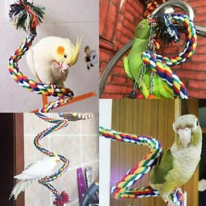 1x Cotton Rope Bird Perch Chew Toy for Parrot African Greys Cockatoo