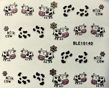 Nail Art 3D Decal Stickers Milk Cow Spots Flowers BLE1014D