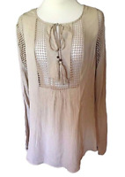 NWT Joseph A. Crinkle Tops with Crochet Detail, New Khaki (Small)