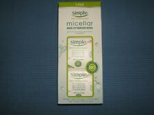 SIMPLE SENSITIVE SKIN EXPERTS MICELLAR MAKE-UP REMOVER WIPES 3-PACK of 25 NWT