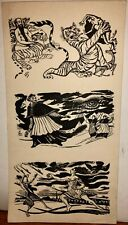"Tigers, Hindu,Clerics,Women 7 3/4"" x 4""  3 Ink Drawings-1930s-Bertram Hartman"