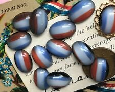 Vintage Glass Cabochons, Oval 14/10mm, Western Germany, Red White Blue #B120 A