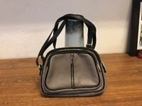 VALENTINA SMALL Gray Leather W/ Black GOLD Trim CROSSBODY BAG PURSE Orig ITALY