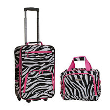 2 Pc Luggage Set Carry On Expandable Rolling Suitcase Girls Tote Bag Black Pink