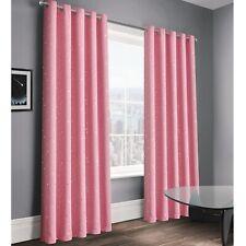 "3 Pass Thermal Blackout Eyelet Ring Top Kids Curtains 66x72"" 183cm Stars Pink"