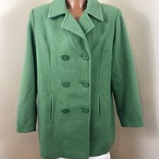 Centigrade Winter Wool Double-Breasted Pea Coat Size L Light Olive Green