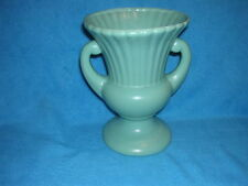 Two Handled Green Vintage Vase Chalkware / Plaster Very Nice Condition