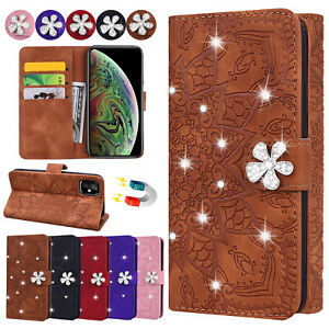 For iPhone 12 11 Pro XS Max 5 6/7/8+ Bling Leather Wallet Phone Case Stand Cover