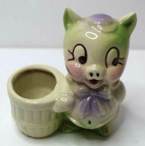 Vintage Shawnee Porky Pig Pink And Green Flower Pot Planter