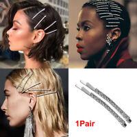 Shiny Metal Barrette Hair Clips Crystal Hairgrip Rhinestones Hairpins