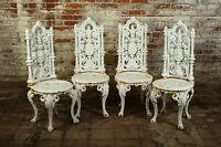 19th Century Victorian Original Cast Iron Patio Chairs - Set of 4