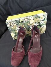 East - Plum Suede Ankle Strap Sandals UK Size 5