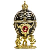 LIONS Black Faberge Egg Replica Trinket Box, 7.5 cm, Russian Egg Easter Gift