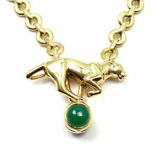 Authentic! Cartier Panthere Panther 18k Yellow Gold Green Chalcedony Necklace