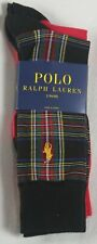 Polo Ralph Lauren 2 Pairs Black Plaid Red Dress Socks NWT