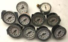 """Lot of 10 Miscellaneous Pressure Gauges, 1/8"""" NPT, Range: 0-100 PSI"""