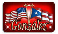 """Puerto Rico USA Unity Flags Decal Bumper Sticker Personalize Name  3.5"""" x 6"""" Red"""