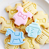 4pcs Baby Cake Mold Biscuit Cookie Cutter Pastry Fondant Sugarcraft Plunger Mold
