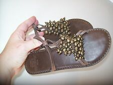 Abercrombie & Fitch Leather Sandal Flip Flop 7/8 Brown BEADED Slip On Small 7-8