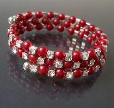 Armreif Silber Perlen Rot Strass klar Armreifen Spiralform Damen Mädchen A1835
