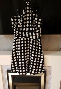 Urban Outfitters Ladies Black & White Polka Dot Halter Dress Small RRP £49 New
