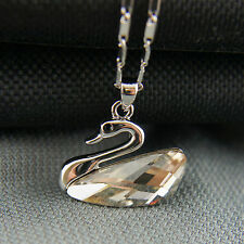 18k White Gold GF Swan Diamond Simulated Crystal Pendant Necklace