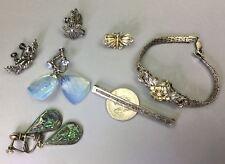 Victorian & VTG Sterling Screw On Earrings Filigree Butterfly Pin Bracelet