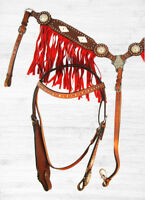 BLING SHOW RED SUEDE FRINGE HORSE BRIDLE WESTERN HEADSTALL BREAST COLLAR TACK