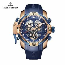 Reef Tiger Mens Watch Complicated Blue Dial Black Rubber Rose Gold Automatic